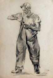 Набросок натурщика одевающего одежду рыбака