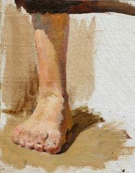 Набросок ноги для центральной фигуры в дипломной картине Это не должно повториться