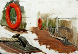 Сбор материала для дипломной картины на кораблях в г. Керчи в 1986 г